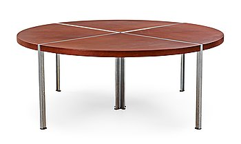 111. A Walter Knoll dining table with brown leather top, Germany.