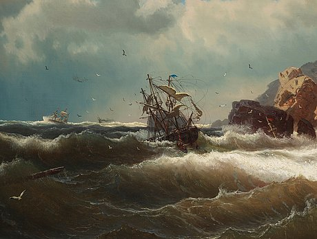 Marcus larsson, ship by the coast.