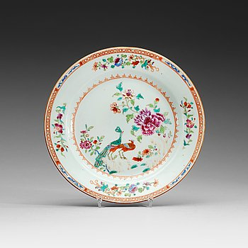 203. A set of six famille rose 'double peacock' dinner plates, Qing dynasty, Qianlong (1736-95).