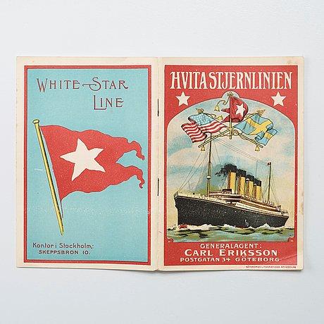 "Brochure. ""hvita stjern linien"", general agent carl eriksson, postgatan 34, gothenburg."