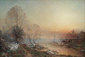 675. ALFRED WAHLBERG, Fog over Huskvarna stream.
