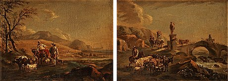 Nicolaes berchem circle of, landscape with shepherds and cattle.