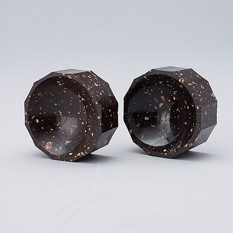 Two matched swedish 19th century porphyry salts.