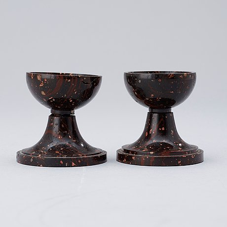 A pair of swedish 19th century porphyry salts.