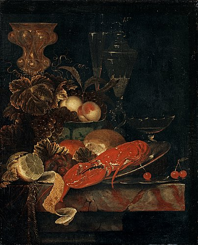 Ottmar elliger, still life with a lobster and  fruits.