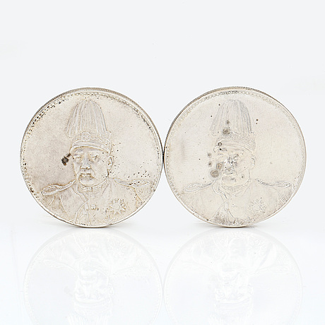 Two chinese silver coins, from the republic era (1916).