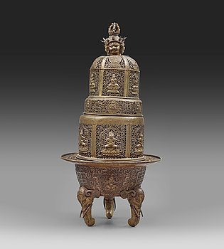 115. A large copper alloy incense burner, Tibet or Mongolia 19th Century.