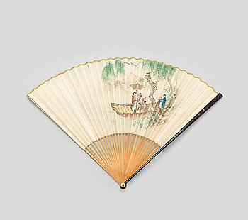 8. Two fans decorated with figures and one also with calligraphy, late Qing Dynasty (1644-1912).