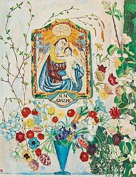 """96. HILDING LINNQVIST, """"Madonna och blommor""""."""