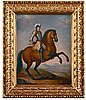 Elias brenner, equestrian portrait with king charles xi (1655-1697).