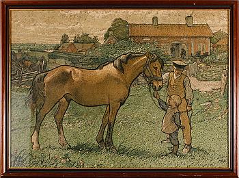 NILS KREUGER, skolplansch, litografi, 1900-talets mitt.