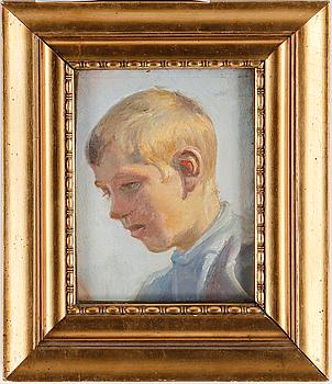 """1005. Michael Ancher, Study for """"Drenge rider heste til vands""""."""