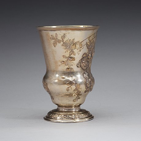 A polish 18th century parcel-gilt beaker, unidentified makers mark, breslau 1746-1758.