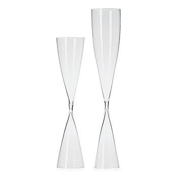 12. Two Ingeborg Lundin hourglass vases, Orrefors, Sweden ca 1953.