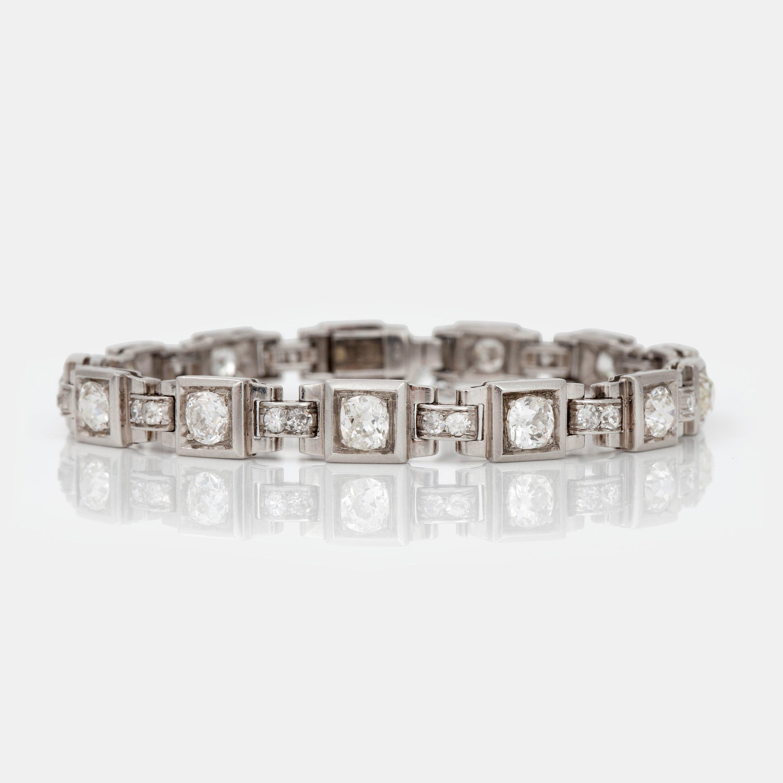 A Old Cut Diamond Circa 430 Ct Bracelet French Hallmarks