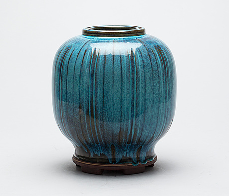 A wilhelm kåge 'farsta' stoneware jar, gustavsberg studio 1960.