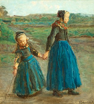 1002. Viggo Johansen, Two girls.