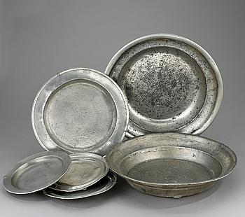 FAT samt TALLRIKAR, 6 st, Tenn, Bl.a. Eskilstuna, 1700/1800-tal.