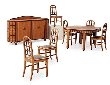 A Maurice Dufrene dining room suite, Paris, France 1921.