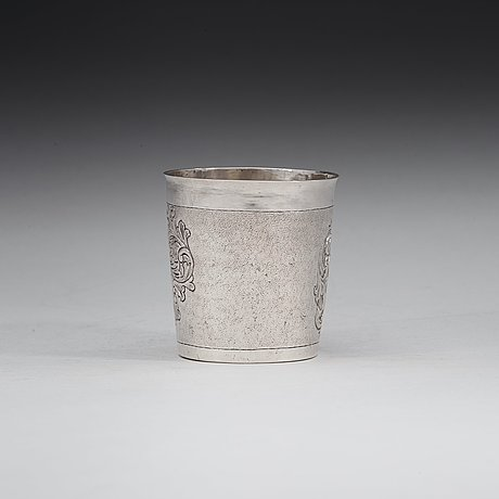 A danish 18th century silver beaker, marks of christian lübecker (flensborg 1702-1739).