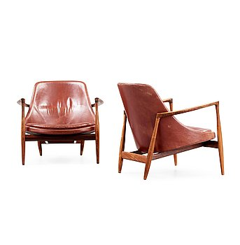 85. A pair of Ib Kofod Larsen palisander and brown leather 'Elisabeth' easy chairs, Denmark 1950's-60's.