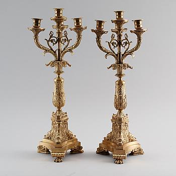 KANDELABRAR, 1 par, senempire, brons, 1800-talets mitt.