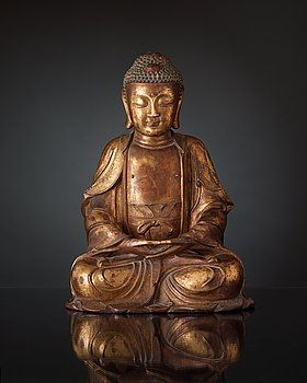 142. A large gilt bronze figure of Buddha, Ming dynasty (1368-1644).