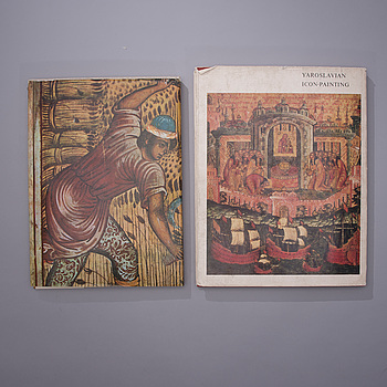 BÖCKER, 2 st, Yaroslavl Frescoes tryckt 1969 och Yaroslavian Icon-painting, tryckt 1973, Moskva.