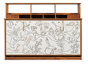 508. An Otto Schulz white artificial leather and walnut cabinet (with a bed), Boet, Gothenburg 1930-40's.