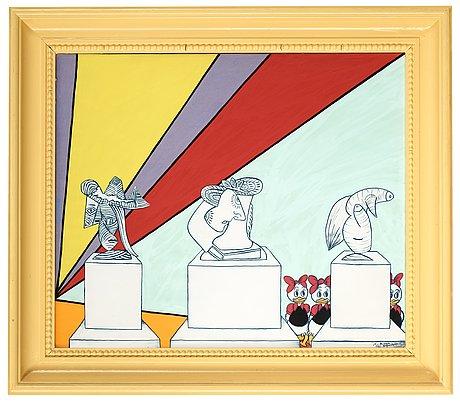 "Marie-louise ekman, ""tre picasso-dams-monument och en olle baertling-tavla""."