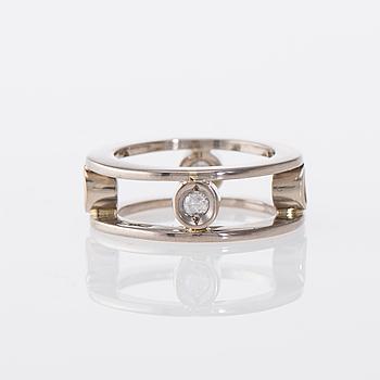 RING, 14K vitguld, briljantslipade diamanter. Finska importstämplar. Vikt ca 7,8 g.