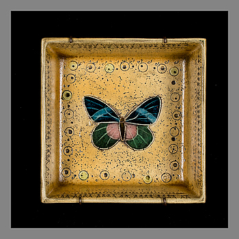 RUT BRYK, CERAMIC RELIEF, BOX. Butterfly. Signed Bryk. Late 1950s.