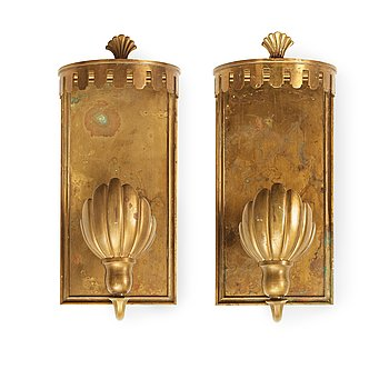 507. A pair of patinated brass wall lights, Sweden 1920's-30's.