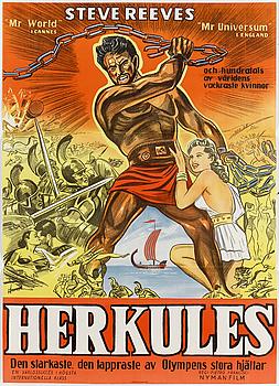 FILMAFFISCHER, 2 st, Steve Reeves, 'Herkules', Stockholm, 1960.