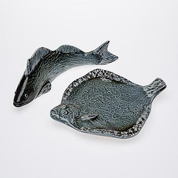 GUNVOR OLIN-GRÖNQVIST, 2 st, keramik, signerade GOG, numrerade 99 respektive 77, daterade -90, Arabia.