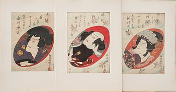 JAPANSKA TRÄSNITT, 3 st, Utagawa Kunisada, 1800-tal.