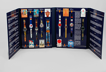 """ARMBANDSUR, 9 st, """"Swatch Historical Olympic Games Collection"""", Swatch, numrerad 4100/9999, 1995."""