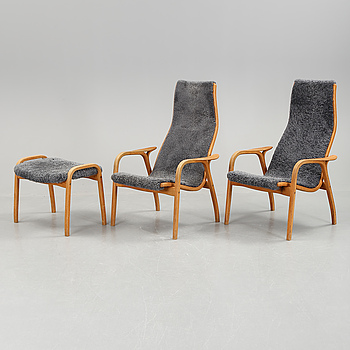 "FÅTÖLJER, ett par, samt en FOTPALL, ""Lamino"", Yngve Ekström, Swedese."