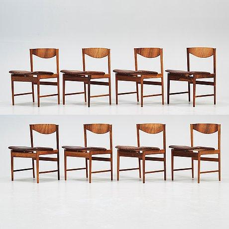 A set of eight ib kofod larsen palisander chairs, säffle möbelfabrik, sweden 1960's.