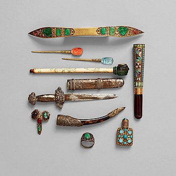 2. A group of objects, Qing dynasty and circa 1900.