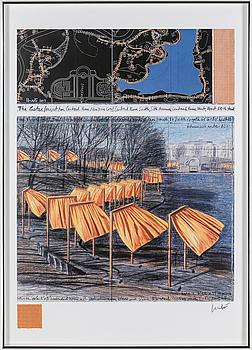 CHRISTO & JEANNE-CLAUDE, färgoffset med collage, signerad med blyerts.