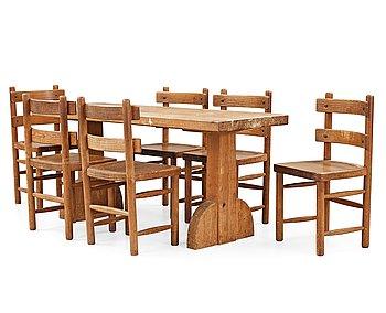 476. An Axel Einar Hjorth stained pine dining set 'Sandhamn', Nordiska Kompaniet, Sweden 1931-33.