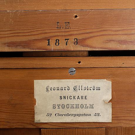 KabinettskÅp, för mynt och medaljer, barockstil, leonard ellström stockholm 1873.