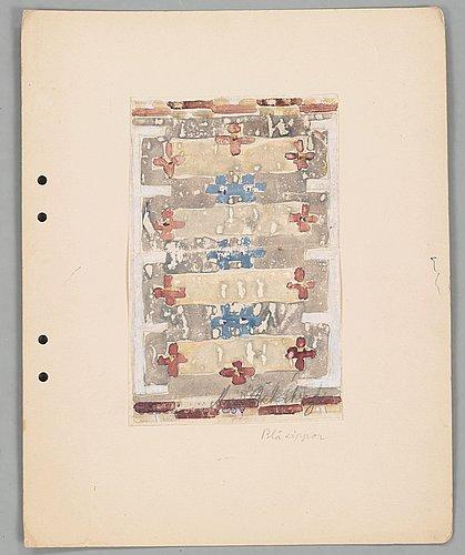 Mattskisser, 4 st. akvarell och blyerts. tre av agda österberg och en av astrid nyström.