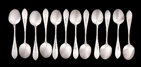 A set of dessert cutlery, silver, ljubabin, russia, moscow c. 1900