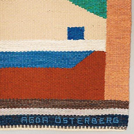 """Matta. """"matta nr 365"""". rölakan. 337 x 182 cm. signerad invävt aö och broderat agda österberg."""