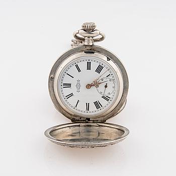 FICKUR, silver, början av 1900-talet. Klockked med kompasshänge.