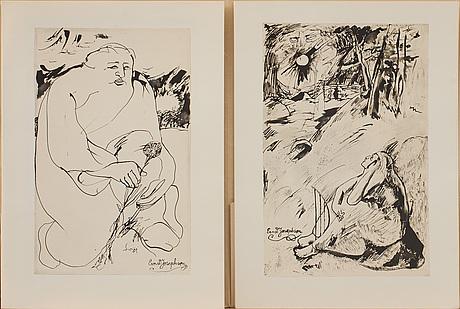 Ernst josephson, mapp, efter, ur nationalmusei samlingar, 7 offsettryck 1976.