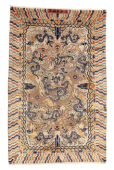 95. CARPET. Antique silk China relief. 256,5 x 158 cm. Late Qing dynasty (1644–1911).