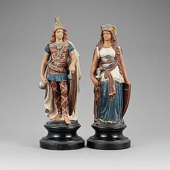 FIGURINER, ett par, keramik, Uffrecht & Co, Tyskland, 1800-talets slut.